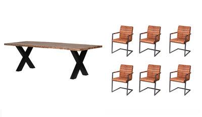 Design Tafel Met 6 Stoelen.Live Edge Tafel 6 Nine Stoelen Inhuis Meubels